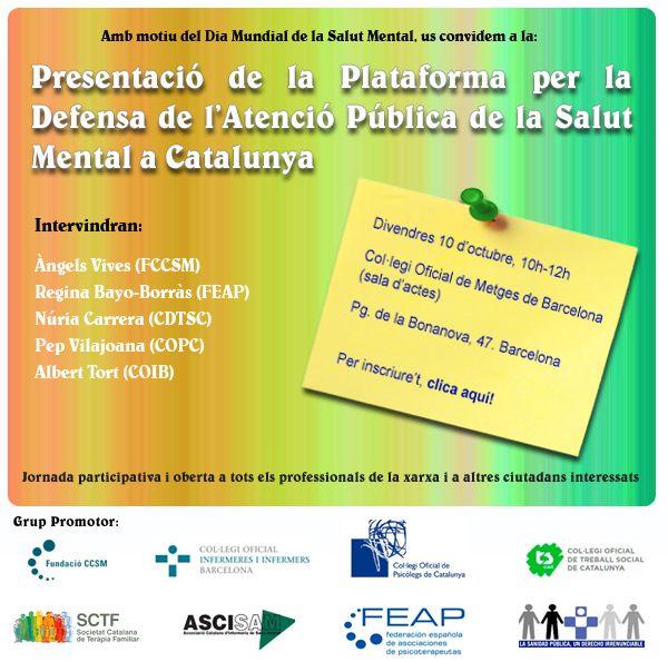 Presentació Plataforma per a la Defensa de l'Atenció Pública de la Salut Mental a Catalunya